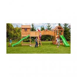 Alpholz Spielturm mit Rutsche, Kletterwand und Doppelschaukel (Rutsche in Grün) - 1