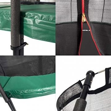 Ampel 24 Deluxe Outdoor Trampolin 305 cm grün komplett mit innenliegendem Netz, Belastbarkeit 150 kg, Sicherheitsnetz mit Stabilitätsring - 3