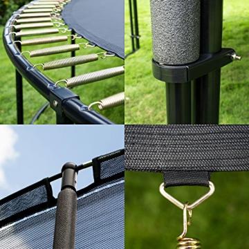 Ampel 24 Deluxe Outdoor Trampolin 305 cm grün komplett mit innenliegendem Netz, Belastbarkeit 150 kg, Sicherheitsnetz mit Stabilitätsring - 4