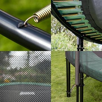 Ampel 24 Deluxe Outdoor Trampolin 366 cm komplett mit Außennetz, Belastbarkeit 160 kg, Sicherheitsnetz mit 8 gepolsterten Stangen und Stabilitätsring - 4