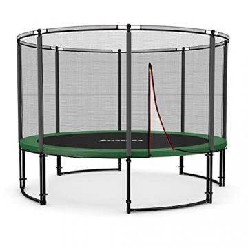 Ampel 24 Deluxe Outdoor Trampolin 366 cm komplett mit Außennetz, Belastbarkeit 160 kg, Sicherheitsnetz mit 8 gepolsterten Stangen und Stabilitätsring - 1