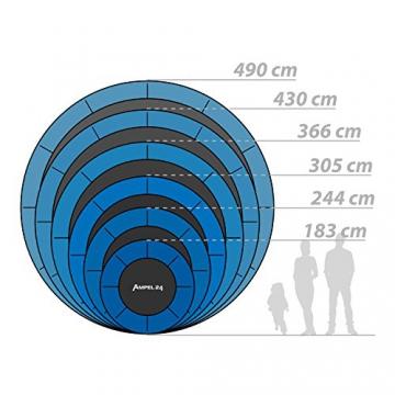 Ampel 24 Deluxe Outdoor Trampolin 366 cm komplett mit Außennetz, Belastbarkeit 160 kg, Sicherheitsnetz mit 8 gepolsterten Stangen und Stabilitätsring - 8