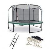 Ampel 24 Deluxe Outdoor Trampolin 366 cm mit innenliegendem Netz, Leiter & Windsicherung, Belastbarkeit 160 kg, Sicherheitsnetz 8 gepolsterten Stangen - 1