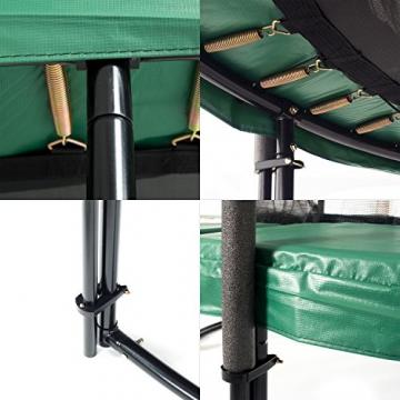 Ampel 24 Deluxe Outdoor Trampolin 366 cm mit innenliegendem Netz, Leiter & Windsicherung, Belastbarkeit 160 kg, Sicherheitsnetz 8 gepolsterten Stangen - 5