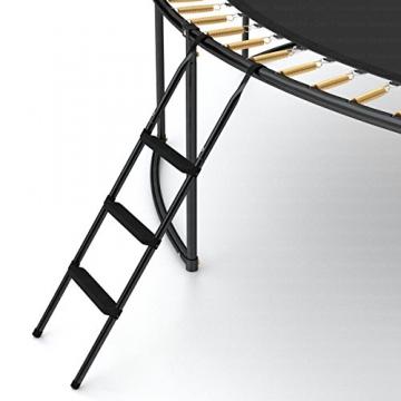 Ampel 24 Deluxe Outdoor Trampolin 366 cm mit innenliegendem Netz, Leiter & Windsicherung, Belastbarkeit 160 kg, Sicherheitsnetz 8 gepolsterten Stangen - 6
