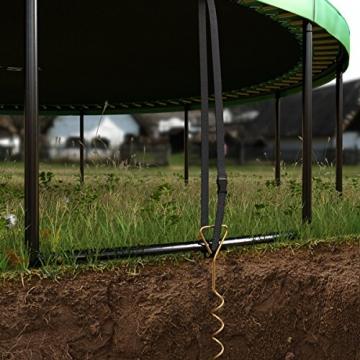 Ampel 24 Deluxe Outdoor Trampolin 366 cm mit innenliegendem Netz, Leiter & Windsicherung, Belastbarkeit 160 kg, Sicherheitsnetz 8 gepolsterten Stangen - 7