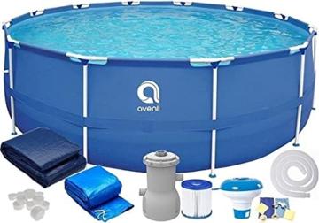 Avenli Pool - 366x76 cm - komplett mit Filter, Pumpe und Deckel - Blau - 2