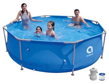 Avenli Pool mit Pumpe Rund 300x76 cm Frame Swimming Pool Stahlrahmenpool Set mit Filterpumpe - 1