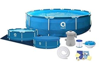 Avenli Schwimmbad - 305x76 cm - komplett mit Filter & Pumpe - mit Abdeckung - blau - 1