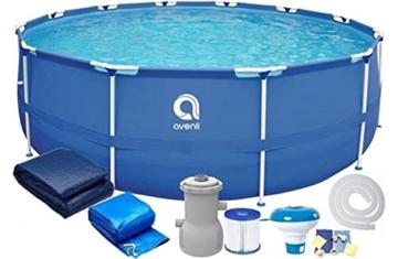 Avenli Schwimmbad - 305x76 cm - komplett mit Filter & Pumpe - mit Abdeckung - blau - 2