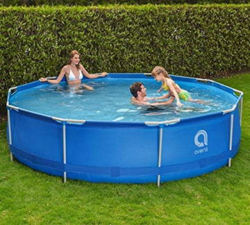 Avenli Schwimmbad - 305x76 cm - komplett mit Filter & Pumpe - mit Abdeckung - blau - 9