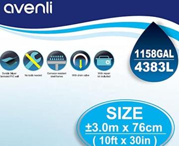 Avenli SteelSuper Stahlramen Aufstellpool 300 x 76 cm Frame Pool Schwimmbecken Gartenpool ohne Pumpe - 6