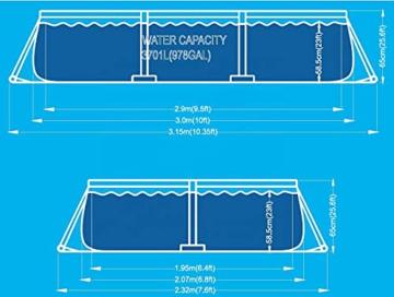 Avenli SteelSuper Stahlramen Aufstellpool Rechteckig 300 x 207 x 65 cm Frame Pool Rectangular Schwimmbecken Gartenpool ohne Pumpe - 3