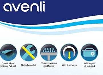 Avenli SteelSuper Stahlramen Aufstellpool Rechteckig 300 x 207 x 65 cm Frame Pool Rectangular Schwimmbecken Gartenpool ohne Pumpe - 5