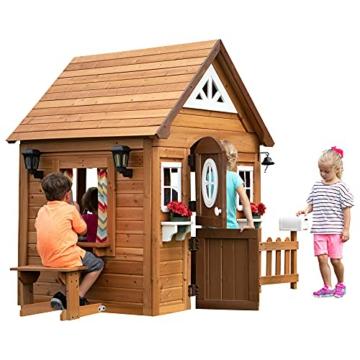 Backyard Discovery Spielhaus Aspen aus Holz   Outdoor Kinderspielhaus für den Garten inklusive Zubehör   Gartenhaus für Kinder mit Fenstern in Braun & Weiß - 2