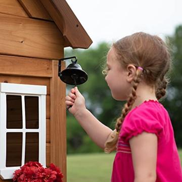 Backyard Discovery Spielhaus Aspen aus Holz   Outdoor Kinderspielhaus für den Garten inklusive Zubehör   Gartenhaus für Kinder mit Fenstern in Braun & Weiß - 4