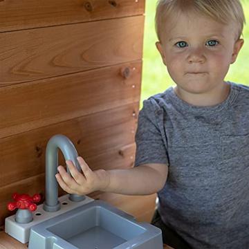 Backyard Discovery Spielhaus Aspen aus Holz   Outdoor Kinderspielhaus für den Garten inklusive Zubehör   Gartenhaus für Kinder mit Fenstern in Braun & Weiß - 6