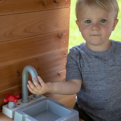 Backyard Discovery Spielhaus Aspen aus Holz | Outdoor Kinderspielhaus für den Garten inklusive Zubehör | Gartenhaus für Kinder mit Fenstern in Braun & Weiß - 6