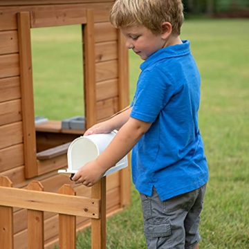 Backyard Discovery Spielhaus Aspen aus Holz   Outdoor Kinderspielhaus für den Garten inklusive Zubehör   Gartenhaus für Kinder mit Fenstern in Braun & Weiß - 7