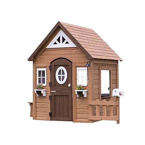 Backyard Discovery Spielhaus Aspen aus Holz | Outdoor Kinderspielhaus für den Garten inklusive Zubehör | Gartenhaus für Kinder mit Fenstern in Braun & Weiß - 1