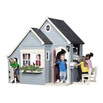 Backyard Discovery Spielhaus Spring Cottage aus Holz  Outdoor Kinderspielhaus für den Garten inklusive Zubehör   Gartenhaus für Kinder mit Fenstern in Grau & Schwarz - 3