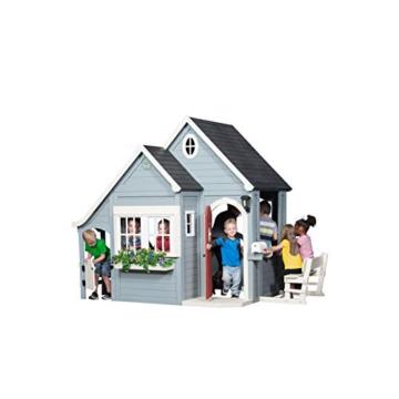 Backyard Discovery Spielhaus Spring Cottage aus Holz  Outdoor Kinderspielhaus für den Garten inklusive Zubehör   Gartenhaus für Kinder mit Fenstern in Grau & Schwarz - 4