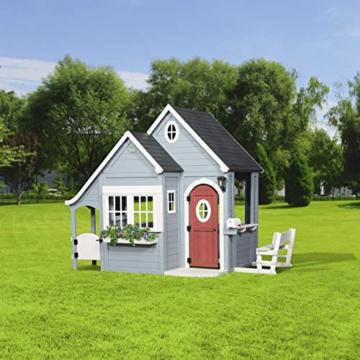 Backyard Discovery Spielhaus Spring Cottage aus Holz  Outdoor Kinderspielhaus für den Garten inklusive Zubehör   Gartenhaus für Kinder mit Fenstern in Grau & Schwarz - 5