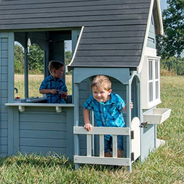 Backyard Discovery Spielhaus Spring Cottage aus Holz  Outdoor Kinderspielhaus für den Garten inklusive Zubehör   Gartenhaus für Kinder mit Fenstern in Grau & Schwarz - 7