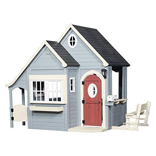 Backyard Discovery Spielhaus Spring Cottage aus Holz| Outdoor Kinderspielhaus für den Garten inklusive Zubehör | Gartenhaus für Kinder mit Fenstern in Grau & Schwarz - 1