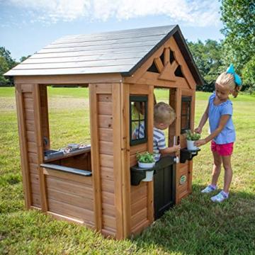Backyard Discovery Spielhaus Sweetwater aus Holz | Outdoor Kinderspielhaus für den Garten inklusive Zubehör | Gartenhaus für Kinder mit Fenstern in Braun & Schwarz - 3