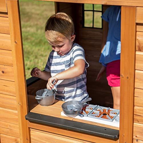 Backyard Discovery Spielhaus Sweetwater aus Holz   Outdoor Kinderspielhaus für den Garten inklusive Zubehör   Gartenhaus für Kinder mit Fenstern in Braun & Schwarz - 4