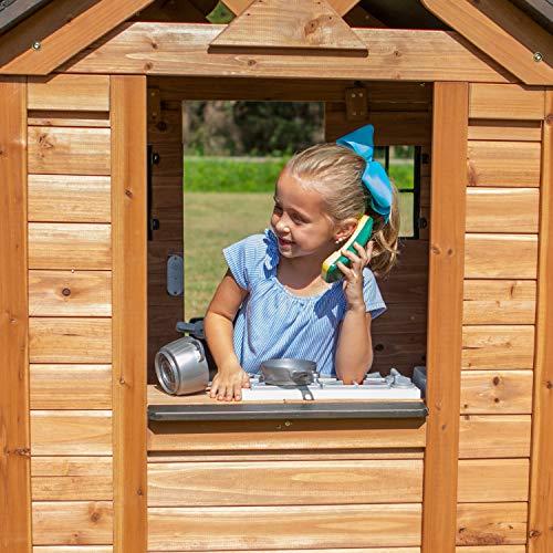 Backyard Discovery Spielhaus Sweetwater aus Holz   Outdoor Kinderspielhaus für den Garten inklusive Zubehör   Gartenhaus für Kinder mit Fenstern in Braun & Schwarz - 5