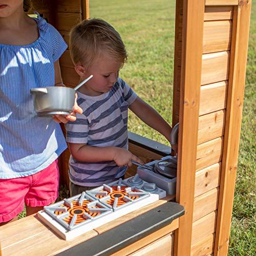 Backyard Discovery Spielhaus Sweetwater aus Holz | Outdoor Kinderspielhaus für den Garten inklusive Zubehör | Gartenhaus für Kinder mit Fenstern in Braun & Schwarz - 6