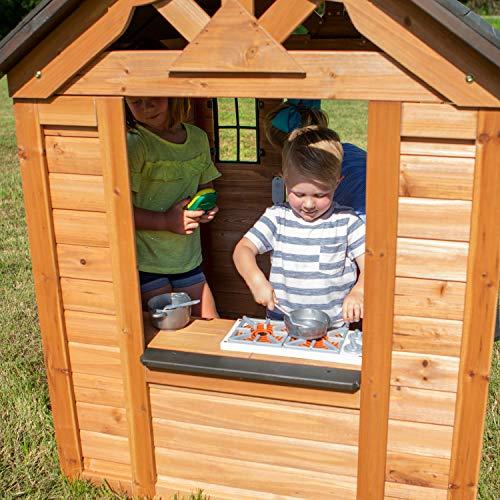 Backyard Discovery Spielhaus Sweetwater aus Holz   Outdoor Kinderspielhaus für den Garten inklusive Zubehör   Gartenhaus für Kinder mit Fenstern in Braun & Schwarz - 8