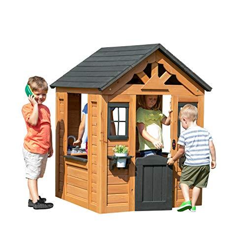 Backyard Discovery Spielhaus Sweetwater aus Holz   Outdoor Kinderspielhaus für den Garten inklusive Zubehör   Gartenhaus für Kinder mit Fenstern in Braun & Schwarz - 1