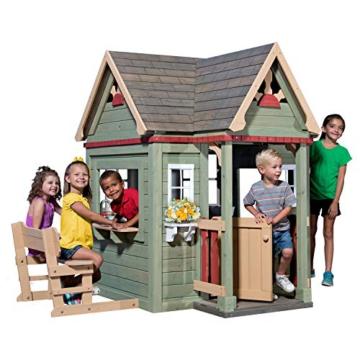Backyard Discovery Spielhaus Victorian Inn aus Holz | Outdoor Kinderspielhaus für den Garten inklusive Zubehör | Gartenhaus für Kinder mit Fenstern in Grün - 2