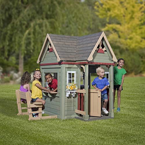 Backyard Discovery Spielhaus Victorian Inn aus Holz   Outdoor Kinderspielhaus für den Garten inklusive Zubehör   Gartenhaus für Kinder mit Fenstern in Grün - 3