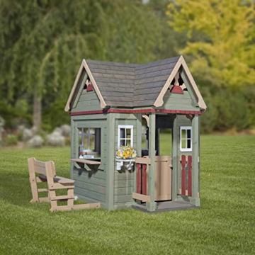 Backyard Discovery Spielhaus Victorian Inn aus Holz | Outdoor Kinderspielhaus für den Garten inklusive Zubehör | Gartenhaus für Kinder mit Fenstern in Grün - 5