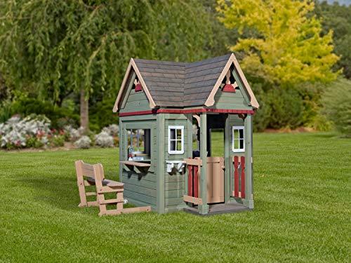 Backyard Discovery Spielhaus Victorian Inn aus Holz | Outdoor Kinderspielhaus für den Garten inklusive Zubehör | Gartenhaus für Kinder mit Fenstern in Grün - 6
