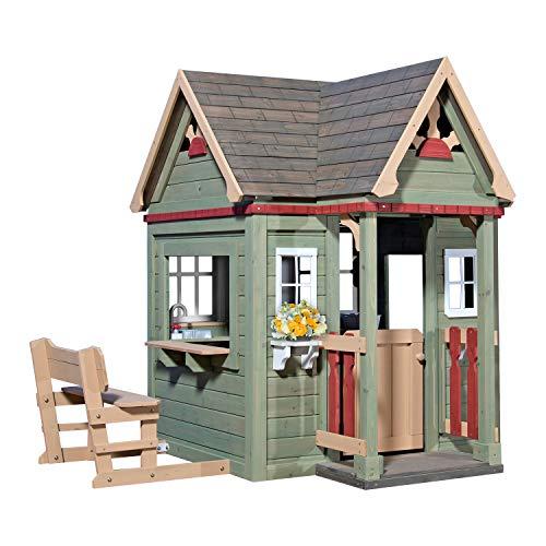 Backyard Discovery Spielhaus Victorian Inn aus Holz   Outdoor Kinderspielhaus für den Garten inklusive Zubehör   Gartenhaus für Kinder mit Fenstern in Grün - 1