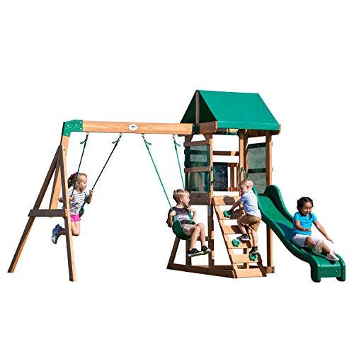 Backyard Discovery Spielturm Buckley Hill aus Holz   XXL Spielhaus für Kinder mit Rutsche, Schaukel und Kletterleiter   Stelzenhaus für den Garten - 2