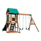 Backyard Discovery Spielturm Buckley Hill aus Holz | XXL Spielhaus für Kinder mit Rutsche, Schaukel und Kletterleiter | Stelzenhaus für den Garten - 1