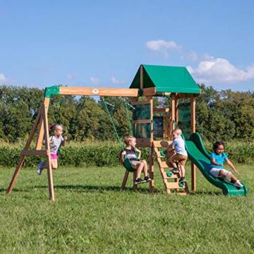 Backyard Discovery Spielturm Buckley Hill aus Holz | XXL Spielhaus für Kinder mit Rutsche, Schaukel und Kletterleiter | Stelzenhaus für den Garten - 3