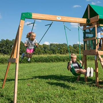 Backyard Discovery Spielturm Buckley Hill aus Holz | XXL Spielhaus für Kinder mit Rutsche, Schaukel und Kletterleiter | Stelzenhaus für den Garten - 5