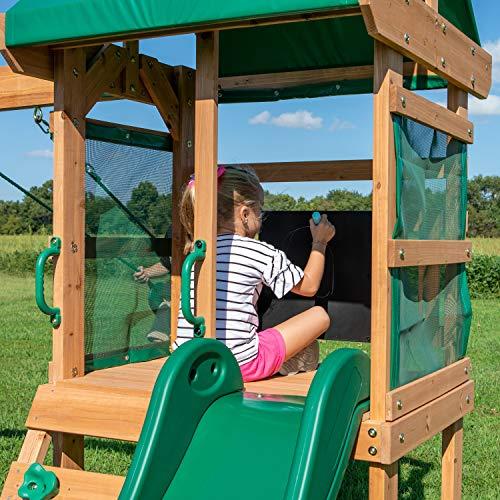 Backyard Discovery Spielturm Buckley Hill aus Holz | XXL Spielhaus für Kinder mit Rutsche, Schaukel und Kletterleiter | Stelzenhaus für den Garten - 6