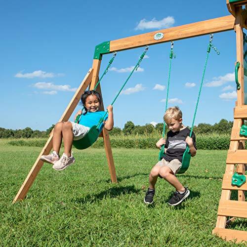 Backyard Discovery Spielturm Buckley Hill aus Holz | XXL Spielhaus für Kinder mit Rutsche, Schaukel und Kletterleiter | Stelzenhaus für den Garten - 8