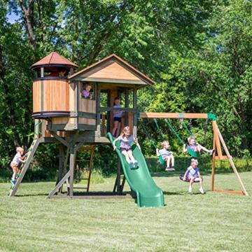 Backyard Discovery Spielturm Eagles Nest Elite aus Holz | XXL Spielhaus für Kinder mit Rutsche, Schaukel, Nestschaukel, Kletterwand und Sandkasten| Stelzenhaus für den Garten - 2