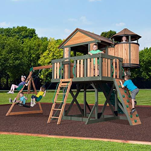 Backyard Discovery Spielturm Eagles Nest Elite aus Holz   XXL Spielhaus für Kinder mit Rutsche, Schaukel, Nestschaukel, Kletterwand und Sandkasten  Stelzenhaus für den Garten - 3