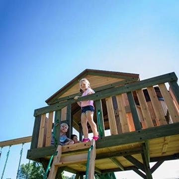 Backyard Discovery Spielturm Eagles Nest Elite aus Holz | XXL Spielhaus für Kinder mit Rutsche, Schaukel, Nestschaukel, Kletterwand und Sandkasten| Stelzenhaus für den Garten - 4