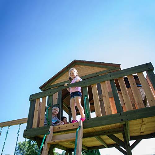 Backyard Discovery Spielturm Eagles Nest Elite aus Holz   XXL Spielhaus für Kinder mit Rutsche, Schaukel, Nestschaukel, Kletterwand und Sandkasten  Stelzenhaus für den Garten - 4